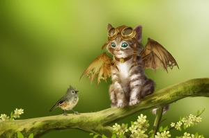 1500x997_11135_Learning_to_Fly_2d_fantasy_cartoon_kitten_bird_humor_picture_image_digital_art