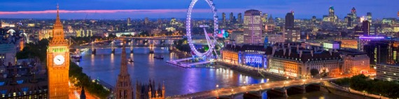 Panoramic view from Victoria Tower on Houses of Parliament and London skyline at night, London, U.K.